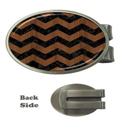 Chevron3 Black Marble & Brown Wood Money Clip (oval)