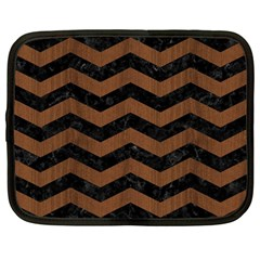 Chevron3 Black Marble & Brown Wood Netbook Case (large) by trendistuff