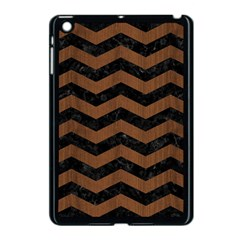 Chevron3 Black Marble & Brown Wood Apple Ipad Mini Case (black) by trendistuff