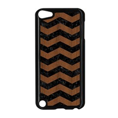 Chevron3 Black Marble & Brown Wood Apple Ipod Touch 5 Case (black) by trendistuff