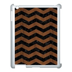 Chevron3 Black Marble & Brown Wood Apple Ipad 3/4 Case (white) by trendistuff