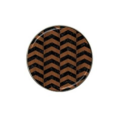 Chevron2 Black Marble & Brown Wood Hat Clip Ball Marker (4 Pack) by trendistuff