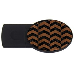 Chevron2 Black Marble & Brown Wood Usb Flash Drive Oval (4 Gb) by trendistuff
