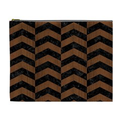 Chevron2 Black Marble & Brown Wood Cosmetic Bag (xl) by trendistuff