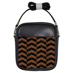Chevron2 Black Marble & Brown Wood Girls Sling Bag by trendistuff