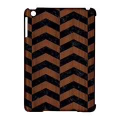Chevron2 Black Marble & Brown Wood Apple Ipad Mini Hardshell Case (compatible With Smart Cover) by trendistuff