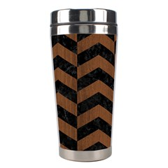 Chevron2 Black Marble & Brown Wood Stainless Steel Travel Tumbler