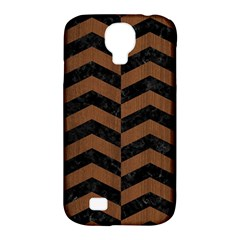Chevron2 Black Marble & Brown Wood Samsung Galaxy S4 Classic Hardshell Case (pc+silicone) by trendistuff