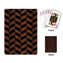 Chevron1 Black Marble & Brown Wood Playing Cards Single Design by trendistuff