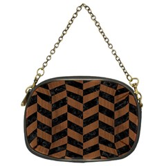 Chevron1 Black Marble & Brown Wood Chain Purse (two Sides) by trendistuff