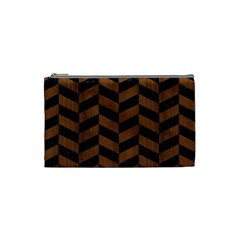 Chevron1 Black Marble & Brown Wood Cosmetic Bag (small) by trendistuff