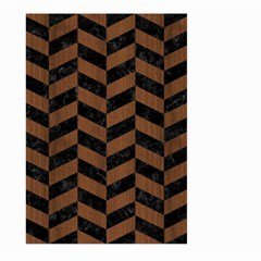 Chevron1 Black Marble & Brown Wood Large Garden Flag (two Sides) by trendistuff