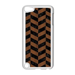 Chevron1 Black Marble & Brown Wood Apple Ipod Touch 5 Case (white) by trendistuff