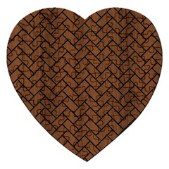 Brick2 Black Marble & Brown Wood (r) Jigsaw Puzzle (heart)