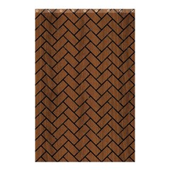 Brick2 Black Marble & Brown Wood (r) Shower Curtain 48  X 72  (small) by trendistuff
