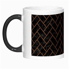 Brick2 Black Marble & Brown Wood Morph Mug by trendistuff