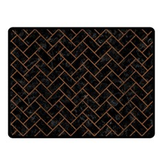 Brick2 Black Marble & Brown Wood Fleece Blanket (small) by trendistuff