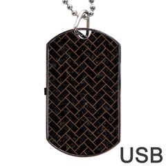 Brick2 Black Marble & Brown Wood Dog Tag Usb Flash (one Side)