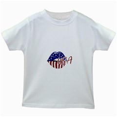 Usa Lips 4july Kids T Shirt (white)