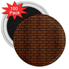Brick1 Black Marble & Brown Wood (r) 3  Magnet (100 Pack) by trendistuff