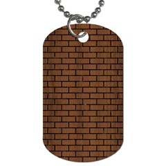 Brick1 Black Marble & Brown Wood (r) Dog Tag (one Side) by trendistuff