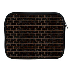 Brick1 Black Marble & Brown Wood Apple Ipad Zipper Case by trendistuff