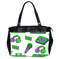 Green Music Pattern Office Handbags (2 Sides)  by TheLimeGreenFlamingo
