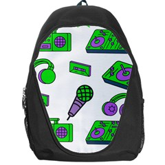 Green Music Pattern Backpack Bag by TheLimeGreenFlamingo