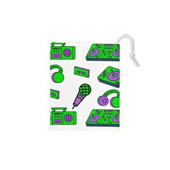 Green Music Pattern Drawstring Pouches (xs)  by TheLimeGreenFlamingo