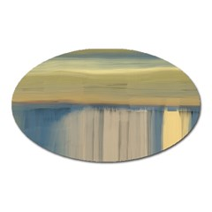Denim Blue And Buttercream Oval Magnet by digitaldivadesigns