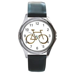 Elegant Gold Look Bicycle Cycling  Round Metal Watch by yoursparklingshop