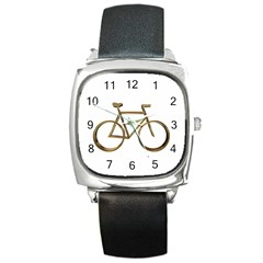 Elegant Gold Look Bicycle Cycling  Square Metal Watch by yoursparklingshop
