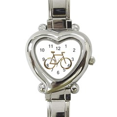 Elegant Gold Look Bicycle Cycling  Heart Italian Charm Watch by yoursparklingshop