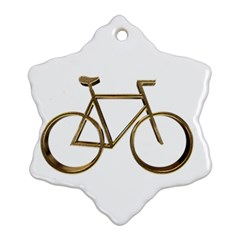 Elegant Gold Look Bicycle Cycling  Snowflake Ornament (two Sides) by yoursparklingshop