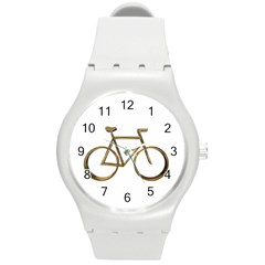 Elegant Gold Look Bicycle Cycling  Round Plastic Sport Watch (m) by yoursparklingshop