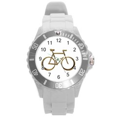 Elegant Gold Look Bicycle Cycling  Round Plastic Sport Watch (l) by yoursparklingshop
