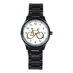 Elegant Gold Look Bicycle Cycling  Stainless Steel Round Watch by yoursparklingshop
