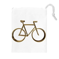 Elegant Gold Look Bicycle Cycling  Drawstring Pouches (extra Large) by yoursparklingshop