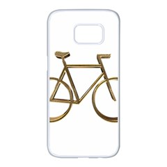 Elegant Gold Look Bicycle Cycling  Samsung Galaxy S7 Edge White Seamless Case by yoursparklingshop