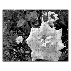 White Rose Black Back Ground Greenery ! Rectangular Jigsaw Puzzl by CreatedByMeVictoriaB