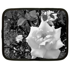 White Rose Black Back Ground Greenery ! Netbook Case (xl)  by CreatedByMeVictoriaB