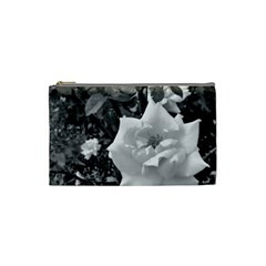 White Rose Black Back Ground Greenery ! Cosmetic Bag (small)  by CreatedByMeVictoriaB