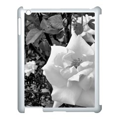 White Rose Black Back Ground Greenery ! Apple Ipad 3/4 Case (white) by CreatedByMeVictoriaB