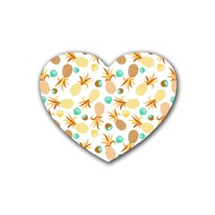 Seamless Summer Fruits Pattern Heart Coaster (4 Pack)