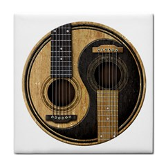 Old And Worn Acoustic Guitars Yin Yang Tile Coasters by JeffBartels