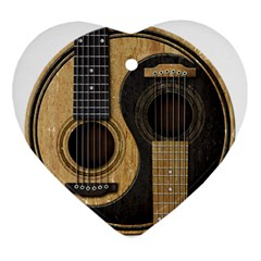Old And Worn Acoustic Guitars Yin Yang Ornament (heart) by JeffBartels