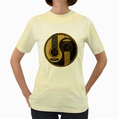 Old And Worn Acoustic Guitars Yin Yang Women s Yellow T Shirt by JeffBartels