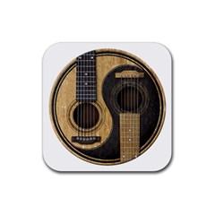 Old And Worn Acoustic Guitars Yin Yang Rubber Coaster (square)  by JeffBartels