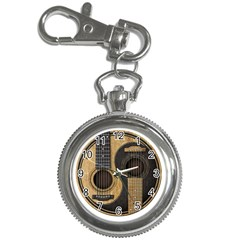Old And Worn Acoustic Guitars Yin Yang Key Chain Watches