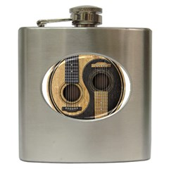 Old And Worn Acoustic Guitars Yin Yang Hip Flask (6 Oz) by JeffBartels